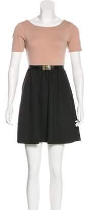 Alice + Olivia Two-Tone Mini A-Line Dress