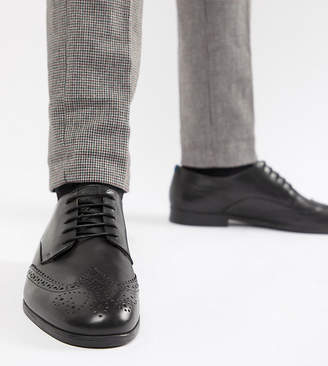 H By Hudson Wide Fit Aylesbury brogues in black leather
