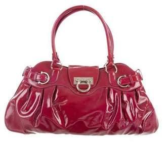 Salvatore Ferragamo Patent Leather Gancini Shoulder Bag