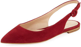 Gianvito Rossi Suede Pointed-Toe Slingback Flats