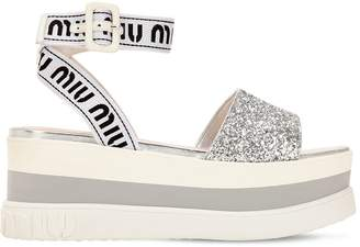 Miu Miu 80mm Nylon & Glitter Wedge Sandals