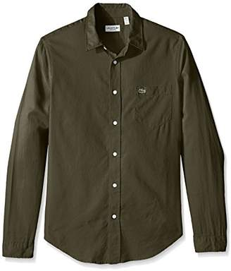 Lacoste Men's Long Sleeve Yarndyed Garment Wash Solid Reg Fit Woven Shirt