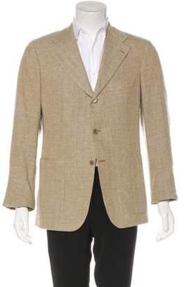 Kiton Herringbone Linen & Cashmere Blazer