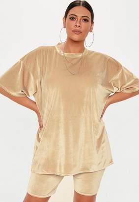 Missguided Plus Size Camel Velvet Oversized T Shirt