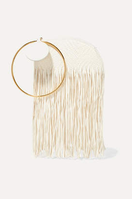 Roksanda Eartha Fringed Woven Leather Clutch - Ivory