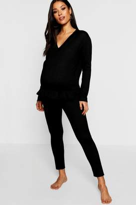 boohoo Maternity Brushed Snuggle Frill Hem Lounge Set