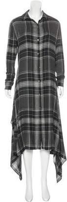 Public School Plaid Long Sleeve Midi Dress