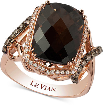 Le Vian Chocolatier® Smoky Quartz (5-1/10 ct. t.w.) and Diamond (3/8 ct. t.w.) Statement Ring in 14k Rose Gold $3,771 thestylecure.com