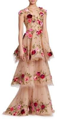 Marchesa Tiered Floral Illusion Gown