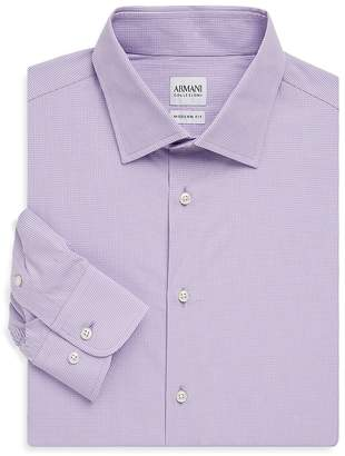 Armani Collezioni Men's Gingham Cotton Shirt