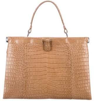 708079d0061b Bottega Veneta Crocodile Intrecciato Frame Bag