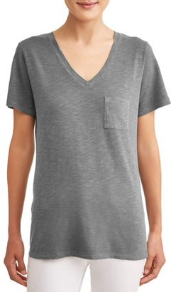 e8ab2c8213c9 Time and Tru Women's Short Sleeve V-Neck Pocket T-Shirt