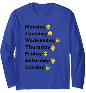 Back to School Funny Moods Days of the Week Emoticons Shirt