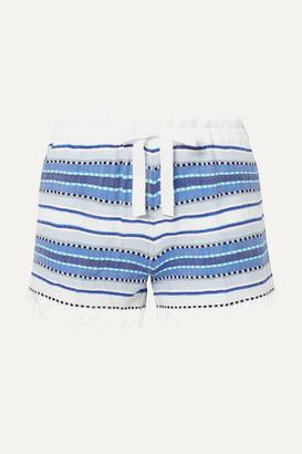 Lemlem Net Sustain Welela Fringed Striped Cotton-blend Gauze Shorts - Blue