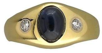 14K Yellow Gold with 1.20ct Sapphire & 0.16ct Diamond Ring Size 10.25