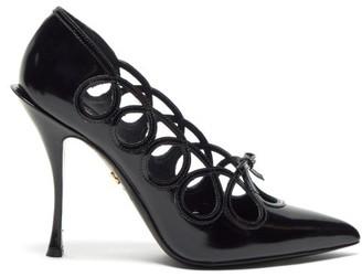 Dolce & Gabbana Lori Bow Appliqued Cut Out Leather Pumps - Womens - Black