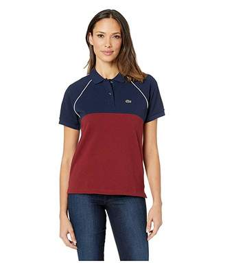 Lacoste Short Sleeve Relaxed Fit Color Block Polo