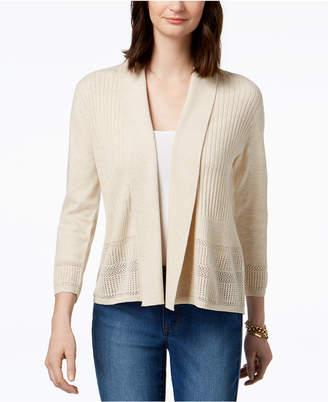 Karen Scott Petite Open Pointelle-Knit Cardigan, Created for Macy's