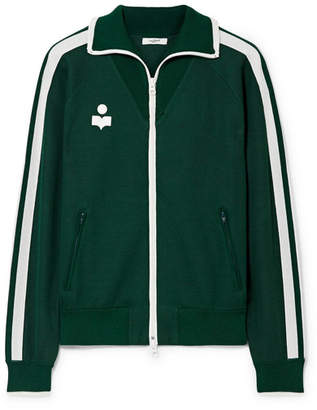 Etoile Isabel Marant Darcey Striped Jersey Track Jacket - Forest green