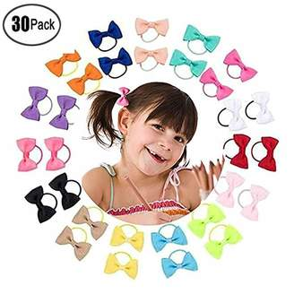 styling/ Finebaby 30Pack Baby Girls Hair Ties Bows Elastic Tie Child Thumb Hair Ring Bow Tie Hair Bands Ropes Ponytail Holders for Babies