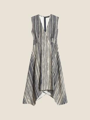 DKNY Printed Seamed V-Neck Dress