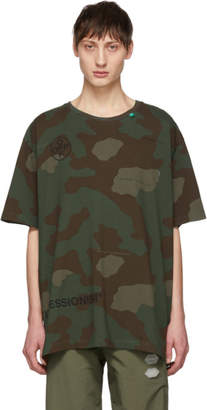 Off-White Green and Brown Camo Stencil T-Shirt