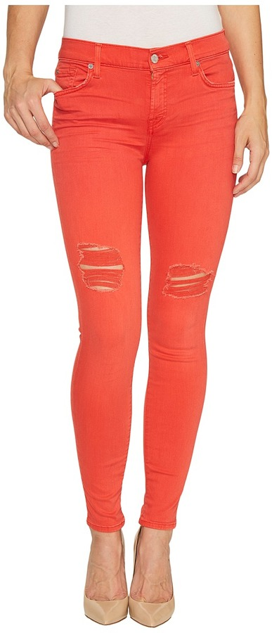 7 For All Mankind7 For All Mankind - The Ankle Skinny Jeans w/ Destroy in Hibiscus Women's Jeans