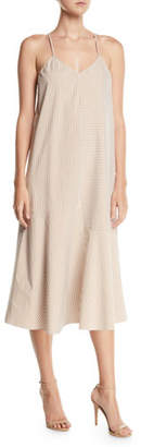 Tibi Kaia V-Neck Striped Flared Long Cami Dress