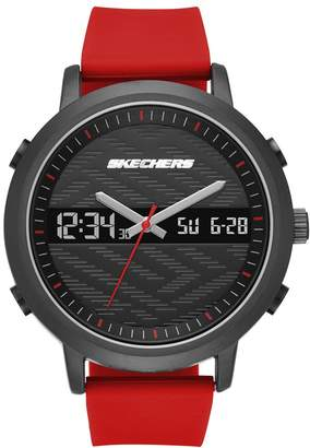 Skechers Men's Quartz Metal and Silicone Casual Watch, Color:Red