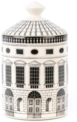 Fornasetti building print encased candle