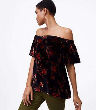 LOFT Fall Floral Velvet Off The Shoulder Top