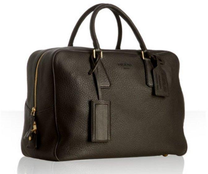 Prada brown pebbled leather tote bag