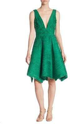 Marchesa Crinkle Chiffon V-Neck Dress
