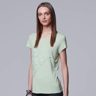 Vera Wang Women's Simply Vera Pieced Lace Inset Tee