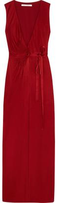 Diane von Furstenberg - Taley Pleated Jersey Wrap Gown - Merlot $698 thestylecure.com