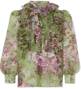 Dolce & Gabbana Ruffled Floral-print Silk-organza Blouse - Green