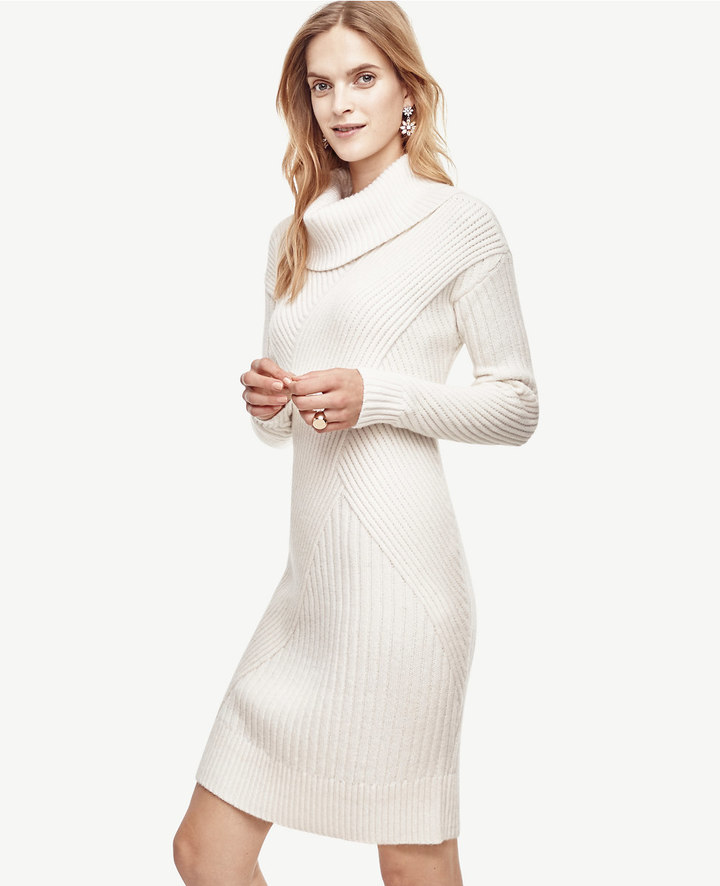 Ann Taylor Ribbed Cowl Neck Sweater Dress
