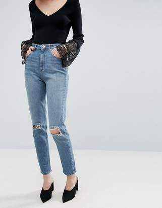 FARLEIGH Slim Mom Jean in Pink Acid with Busted Knees and Let Down Hem - Pink acid wash Asos Sale Huge Surprise For Cheap Discount Sale Fake Big Sale Discount Pictures qUA2KAiVm