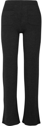 Helmut Lang - Ribbed Wool-blend Bootcut Pants - Charcoal $345 thestylecure.com