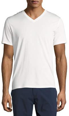 Theory New Clay V Plaito Silk-Cotton Short-Sleeve T-Shirt, Ivory
