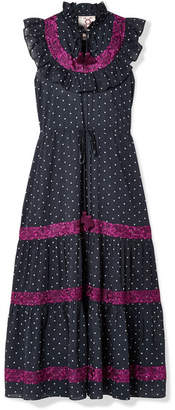 Figue Lila Ruffle-trimmed Embroidered Polka-dot Cotton-voile Dress - Navy