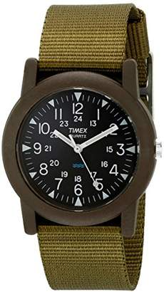 Timex Unisex T41711 Quartz Camper Watch with Black Dial Analogue Digital Display and Green Nylon Strap