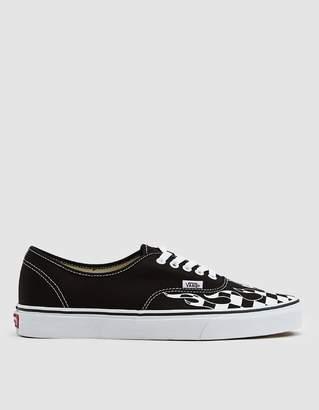 Vans Authentic Checker Flame Sneaker in Black