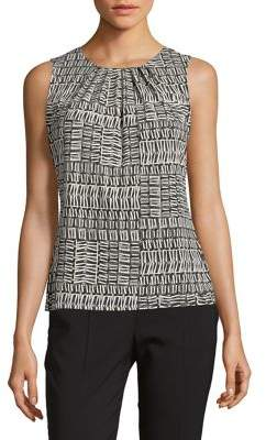 Calvin Klein Petite Printed Pleated Tank Top