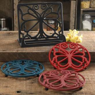 THE PIONEER WOMAN The Pioneer Woman Timeless Beauty 4-Piece Cast Iron Cookbook Holder And Trivet Set