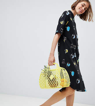 Monki Face Print Midi Shirt Dress In Black