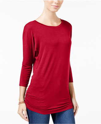 Planet Gold Juniors' Ruched Dolman-Sleeve Top $24 thestylecure.com