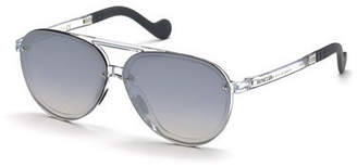 Moncler Aviator Mirrored Overlay-Lens Sunglasses