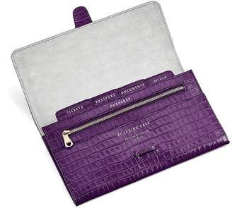 Aspinal of London Classic Travel Wallet In Deep Shine Amethyst Small Croc