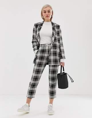 Asos DESIGN Petite slim cigarette suit pants in mono check